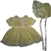SOLD Yellow Dotted Organdy Doll Dress and Bonnet for Toddlers 1920