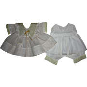 SOLD Yellow and White Organdy Doll Dress and Matching Combination Slip for Effanbee Patsy Ann