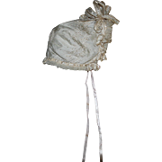 SOLD Antique Cream Silk Bonnet for Baby Doll 1890