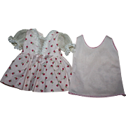 SOLD Pink Pique and Organdy Dress for Hard Plastic Dolls 1950s