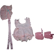 SOLD Adorable Pink Romper, Bonnet, Booties for Dy-dee Baby and Friends 1950s
