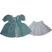Lovely Turquoise and White Petite Print Batiste Dress and Slip for Hard Plastic Dolls 1950