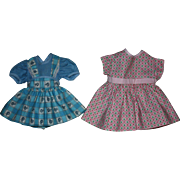 SOLD Two Cute Factory Dresses for Hard Plastic Dolls 1950s