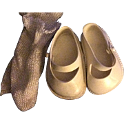 SALE PENDING White Vinyl Shoes and Rayon Socks for Hard Plastic Dolls 1950s