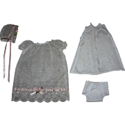 SOLD Four Piece Christening Gown for Small Dolls 1950