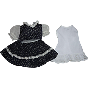 Navy and White Dotted Swiss Dress for Hard Plastic Dolls 1950s