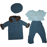 Four Piece Cornflower Blue Wool Outfit for Composition Dolls 1930