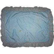 Baby Blue Crepe and Satin Blanket and Pillow Sham for Cribs 1940s