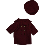 Burgundy Double Breasted Doll Coat and Hat for Effanbee Patsy Junior 1930s