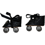 Black Oilcloth Doll Roller Skates 1930s