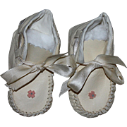 Leather Baby Booties for Large Doll