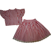 Red and White Taffeta Ensemble for Bisque Dolls 1920s
