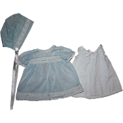 Blue Dress, Slip, Bonnet for Composition Toddlers and Babies 1930