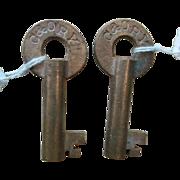 SOLD key CHESAPEAKE & OHIO  hollow barrel brass railroad switchkey Chessie