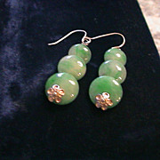Artisan dyed Jade and Sterling Silver Earrings