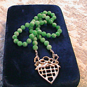 Artisan Sterling Silver Heart with Dyed Jade Bead Necklace.