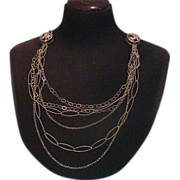 One of a Kind Artisan Medallion and Multi Chain Necklace SS