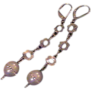 Dramatic Artisan Pearl and Silver Earrings