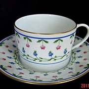 SOLD LIMOGES CERALENE Flat Cup & Saucer with Spur Handle