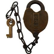Northern Pacific Railroad Brass Heart Shaped Lock with Key