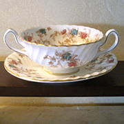 SALE Minton Porcelain Soup Cup and Saucer Set - Ancestral Pattern