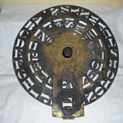 SALE Antique Round Brass Stencil from 1868, Boston