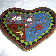 SALE Vintage Chinese Cloisonne Heart Dish