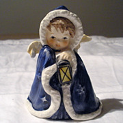 REDUCED Angel Figurine in Hooded Blue Cape With Lantern by Goebel