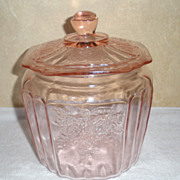 SALE Pink Depression Glass Biscuit Jar in Mayfair Open Rose Pattern