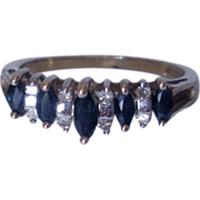 SALE Vintage Sapphire and Diamond Gold Ring
