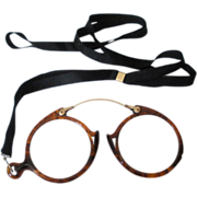 SOLD Tortoise Shell and 14K Pince-Nez Eyeglasses - Red Tag Sale Item
