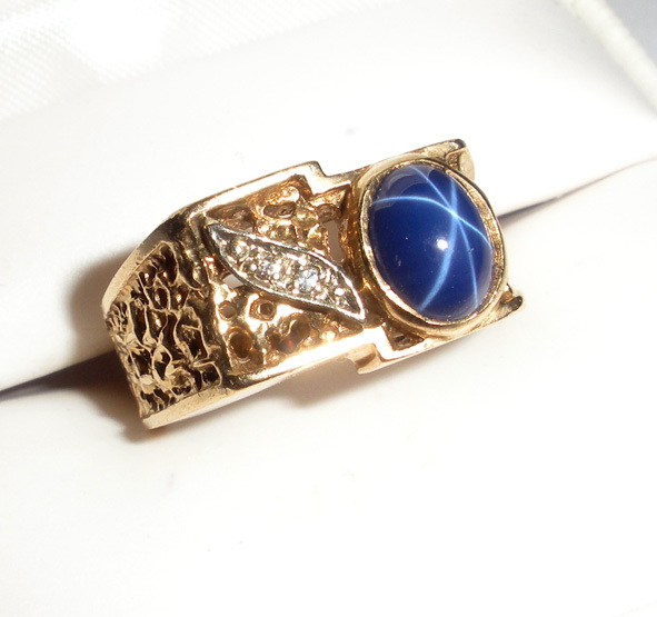 Man S Gold Ring With Star Sapphire And Diamonds From Onostalgia On Ruby Lane
