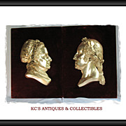 Pair of Silver Plated Bronze Wall Plaques Portrait of George & Martha Washington 22 X 16 inche