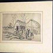 La Maison Du Bucheron Etching by Auguste Lepere, Signed