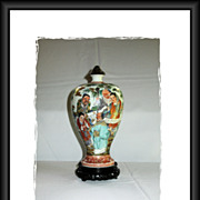 Spectacular Antique, Bomb-shaped Vase of Chinese Porcelain, with Acorn lid and wooden stand