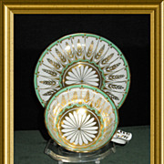 Dazzling Cup and Saucer by Royal Chelsea in white, green and gold décor; Pattern Number 226A;
