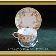 Cup and Saucer 'Dresden Sprays' by Hammersley China Co. Hand painted colorful floral décor, Early 20th century