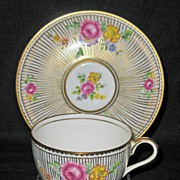 Royal Chelsea; Cup & Saucer; Rayed design gold lines applied free-hand