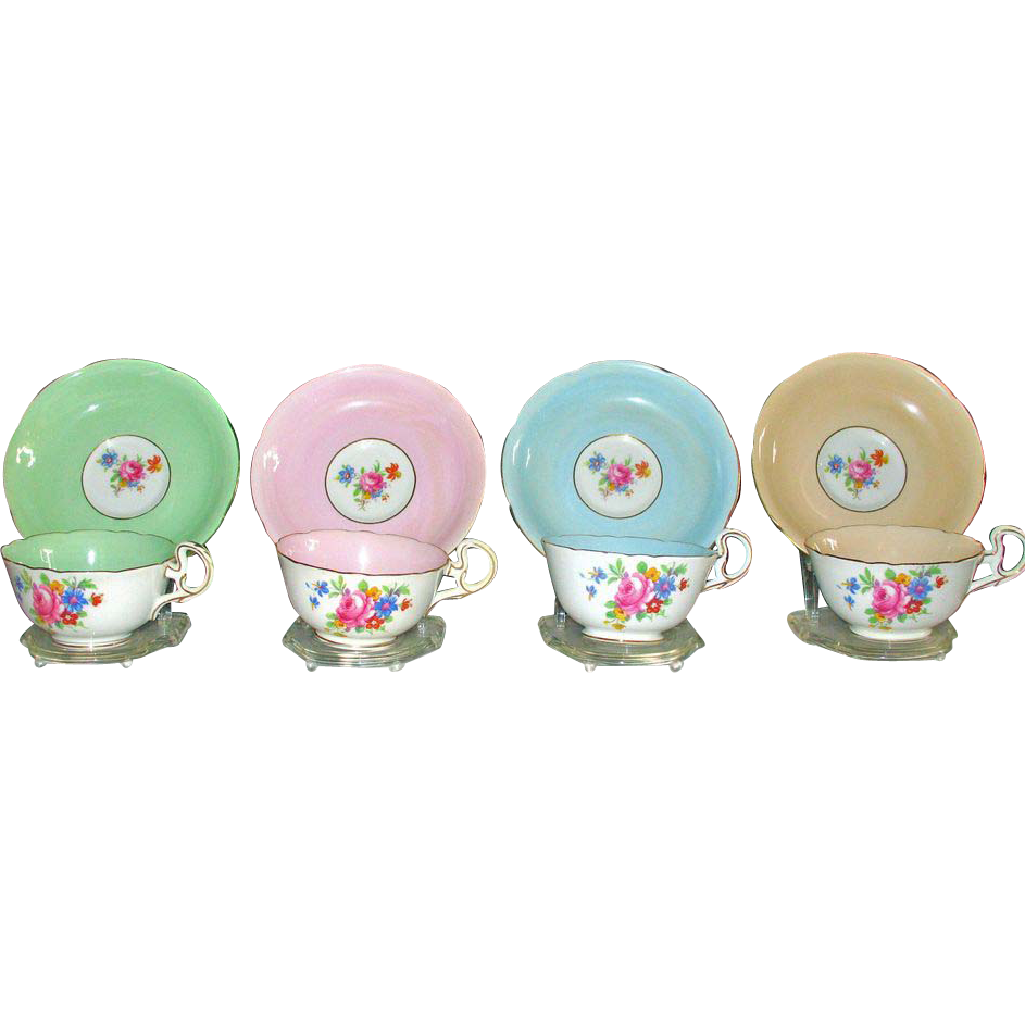 Vintage Grafton China Set of 11 cups & saucers- Made in England