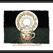 Old Capo-di-Monte Bas-relief Porcelain Covered Cup & Saucer; circa, 19th Century