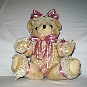 Adorable Stuffed Girl Teddy Bear all dressed up in Pink