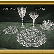 A Complete set of vintage dinnerware for eight; Chintz by Fostoria; Number 6026