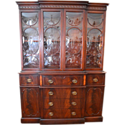 Breakfront Secretary Bookcase Georgian Style Flame Mahogany 12Pane Bubble Glass with Marquetry