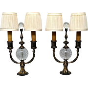 Pair of Pairpoint Candlestick Lamps with Control Bubbles