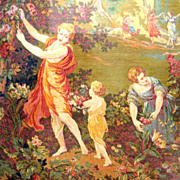 REDUCED Antique Wall Tapestry Garden Scene with Maidens Frolicking 19th C