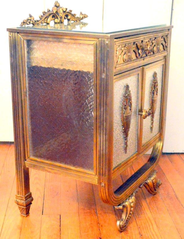 Vintage French Bronze And Glass Cupboard Nightstand Or