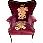 French Wine Mohair Art Deco, Art Nouveau Style Parlor Arm Chair with Raised Floral Pattern.