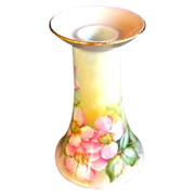 R.S. Germany Candle Holder Hand Painted Wild Pink Roses Artist Signed Wyatt