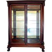 Mahogany Carved China, Display Cabinet Chippendale with Reeded Pillars Ball Claw Feet