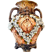 Majolica Encrusted Roses on Vines Double Handled Vase